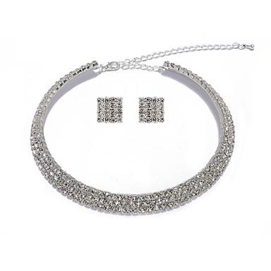 smuk klar krystal bryllup brude halskæde og øreringe smykker sæt