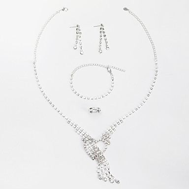 Gorgeous Alloy With Rhinestone Women's Jewelry Set Including Necklace,Earrings,Bracelets,Rings