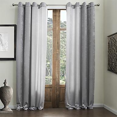 Dva panely Window Léčba Moderní , Jednobarevné 55% bavlna-žinylka / 45% viskózová vlákna Viskózová vlákna Materiál záclony závěsyHome
