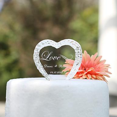 Kakepynt Hage Tema Hjerter Klassisk Par Krystall Bryllup jubileum Utdrikningslag med Gaveeske