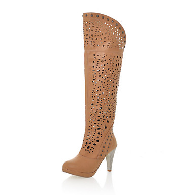 Women's Spring Fall Winter Fashion Boots Leatherette Dress Chunky Heel Hollow-out Black Brown Beige