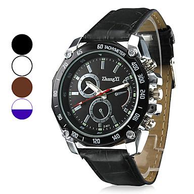 Herrn Quartz Armbanduhr Militäruhr Armbanduhren für den Alltag PU Band Charme Schwarz Weiß Braun
