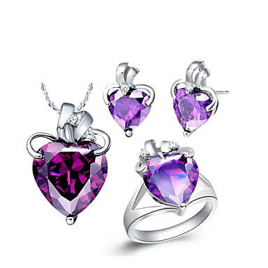 18K Lovely Rhinestone With Blue Crystal Plated Women's Including Pendant Earrings Rings