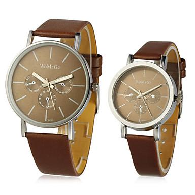 voordelige Vier je liefde-Heren Dames Voor Stel Modieus horloge Zwart / Wit / Bruin Tegel Polshorloge - Wit Zwart Koffie