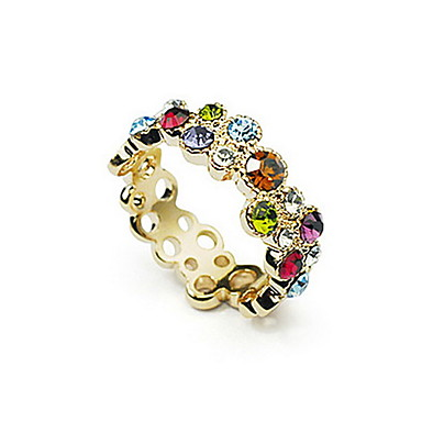Charming Gold Plated with Colorful Crystal Ring