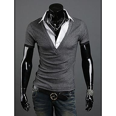 Herren V-Neck Baumwolle Kurzarm Länge Entspannung T-Shirt (Grau)