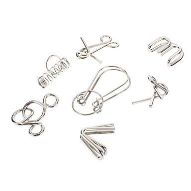 7PCS/Set Metal Wire Puzzle IQ Mind Brain Teaser Puzzles Game Intelligence Hoop BuckleS for Adults Children Kids