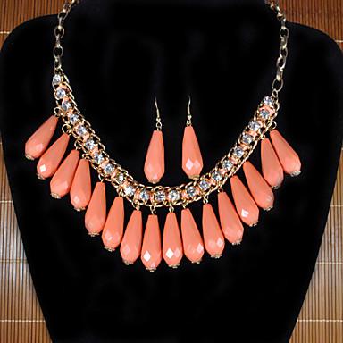 Drop Tassel Bib Necklace&Earrin Set