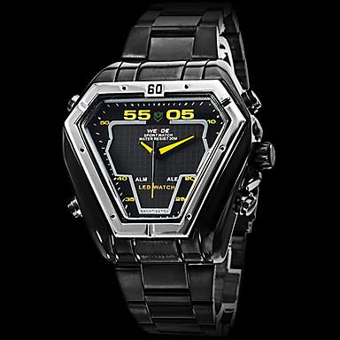 WEIDE Masculino Relógio Esportivo Relógio de Pulso LED Calendário Cronógrafo Impermeável Dois Fusos Horários alarmeQuartzo Quartzo