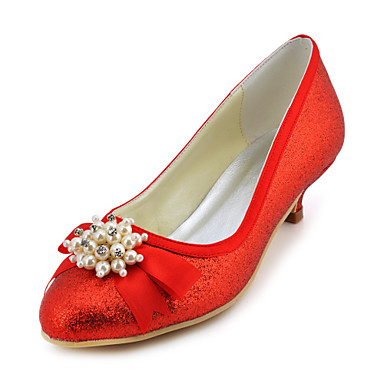Charming Satin Stiletto Heel Pumps with Imitation Pearl and Bowknot Wedding Shoes(More Colors)