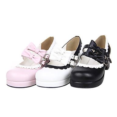 Ayakkabılar Sweet Lolita Elyapımı Yüksek Topuk Ayakkabılar Fiyonk Düğüm 4.5 CM Beyaz Siyah Pembe Uyumluluk PU Deri/Poliüretan Deri