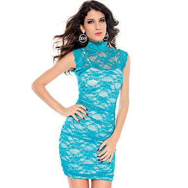 Kvinnors blått Elegant blom Mesh Dress (Bust :86-102cm Midja :58-79cm Hip :90-104cm längd: 85cm)