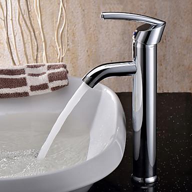 Moderne Basin Roterbar Keramik Ventil Et Hul Enkelt håndtag Et Hul Krom, Håndvasken vandhane