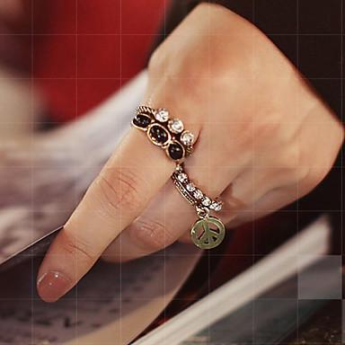 baratos Bijuteria de Mulher-Mulheres ônix Anel de declaração Conjuntos de anéis Paz senhoras Diferente Luxo Original Vintage Liga Anéis Jóias 1 / 2 Para Festa Diário 9 5pçs