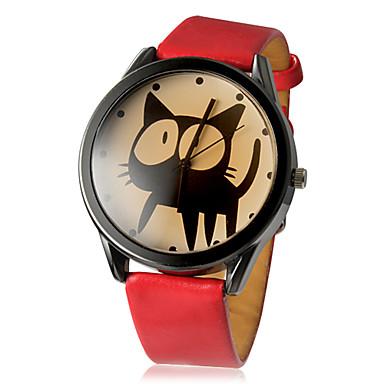 رخيصةأون ساعات النساء-نسائي ساعة المعصم كوارتز جلد اصطناعي أسود / الأبيض / أحمر ساعة كاجوال مماثل سيدات كرتون موضة - أبيض أسود أحمر سنة واحدة عمر البطارية / SSUO LR626