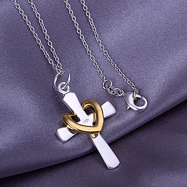 Cross Heart Pendant  -  Love Heart Necklace For Thank You Valentine