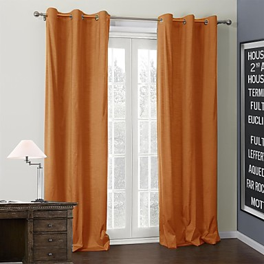 Two Panels Curtain Modern , Solid 100% Polyester Polyester Material Curtains Drapes Home Decoration For Window