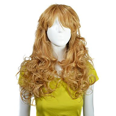 Nadolijevanja Kvalitetni sintetičke duge valovite kose Fashional Zlatni Plava perika