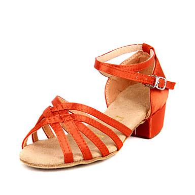 baratos Shall We® Sapatos de Dança-Sapatos de Dança Cetim Sapatos de Dança Latina / Dança de Salão Salto Salto Robusto Não Personalizável Preto / Marrom / Laranja / Couro