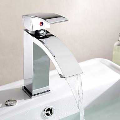 Moderne Centersat Vandfald Keramik Ventil Et Hul Enkelt håndtag Et Hul Krom, Håndvasken vandhane