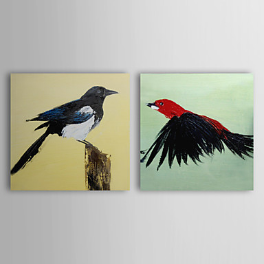 Ručně malované Zvíře Dva panely Plátno Hang-malované olejomalba For Home dekorace