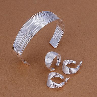Gümüş Kaplama Takı Seti Dahil etmek Yüzükler Kolczyki Bilezik - minimalist tarzı Bakır Gümüş Kaplama alaşım Takı Seti Kulak Piercingleri