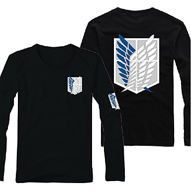 Inspired by Attack on Titan Eren Jager Anime Cosplay Costumes Cosplay Hoodies Print Long Sleeves T-shirt For Male