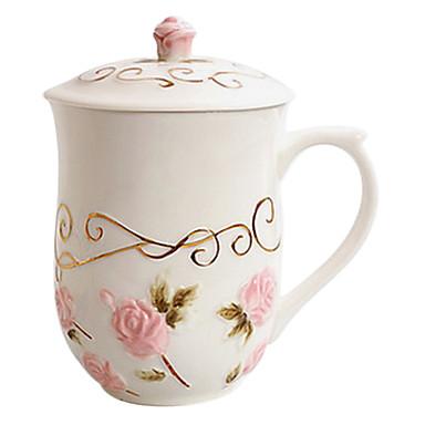 Pink Rose Cană cu capac, ceramica 14 uncii