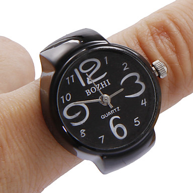 Unisex Black Dial Alloy Quartz Analog Ring Watch Cool Watches Unique Watches Fashion Watch