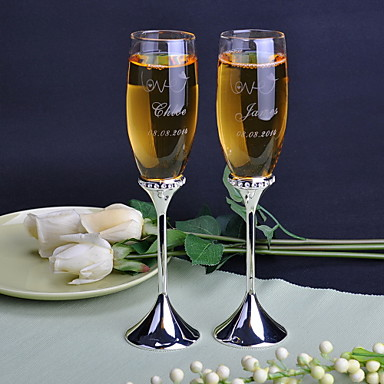 Cristal Prăjire Flutes 2 Personalizat Cutie de Cadouri