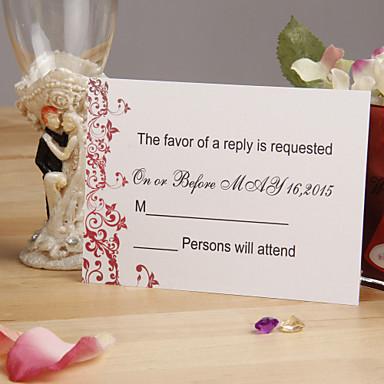 osobní krásná červená květinová svatební odpověď karta - sada 12