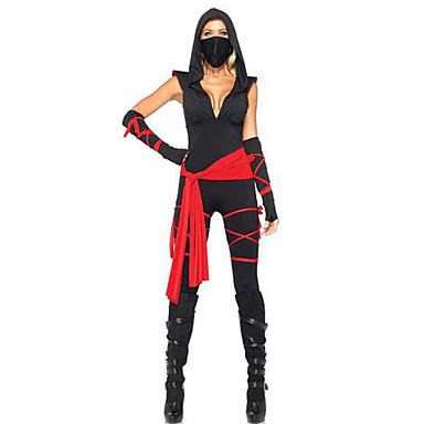 Ninja Cosplay Kostümleri Parti Kostümleri Kadın's Cadılar Bayramı Karnaval Festival / Tatil Cadılar Bayramı Kostümleri Siyah/kırmızı Kırk