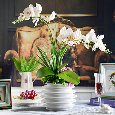 Branch Polyester Orchids Tabletop Flower Artificial Flowers