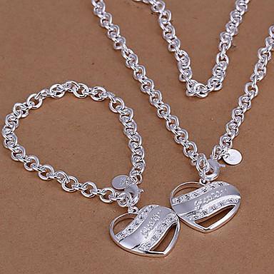 Postříbřené Srdce Šperky Set Náhrdelníky / Náramek - láska / Srdce Sady šperků / Náhrdelníky s přívěšky Pro Svatební / Párty / Denní