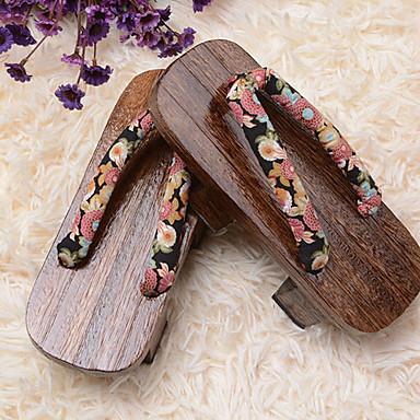 Schuhe Wa Lolita Plattform Schuhe Blumen 3 CM Braun Für Holz Baumwolle