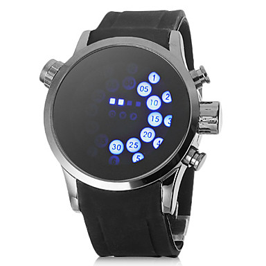 84b0a7e77 unisex modré vedl válcování displeje černý gumový pásek náramkové hodinky