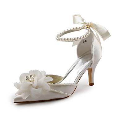 Damen Schuhe Stretch - Satin Satin Frühling Sommer Herbst D'Orsay und Zweiteiler Stöckelabsatz Blume für Hochzeit Party & Festivität Weiß