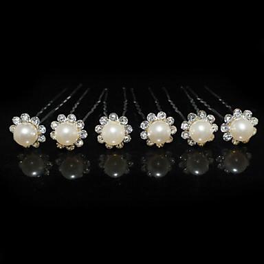 abordables Bijoux de Cheveux-Femme Strass Alliage Imitation de perle Casque-Mariage Occasion spéciale Epingle à Cheveux 6 Pièces