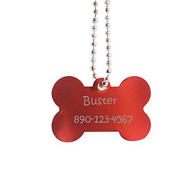 Personalizate cadouri Bone Forma Red Pet Id Name Tag cu lanț pentru câini