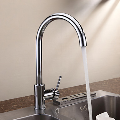 Contemporary Centerset Ceramic Valve One Hole Single Handle One Hole Chrome, Kitchen faucet