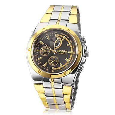 Erkek Quartz Bilek Saati Gündelik Saatler Alaşım Bant İhtişam Gümüş Altın Rengi