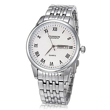 Pánské Náramkové hodinky Křemenný Japonské Quartz Kalendář Nerez Kapela Stříbro Bílá Černá