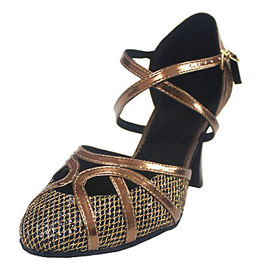 Women's Latin Shoes / Ballroom Shoes Leatherette Heel Customized Heel Customizable Dance Shoes Bronze