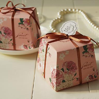 cub de hârtie carte favoriza titular cu panglici favoarea cutii-12 nunti favoruri