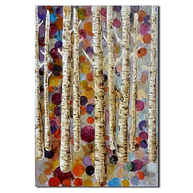 Mână de ulei pictate Pictura Botanică mesteacan alb cu cadru întins