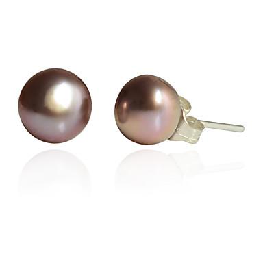 billige Moteøreringer-Dame Tahitian perle Øredobber Billig Perle Sølvplett øredobber Smykker Hvit / Lilla / Rosa Til Fest Daglig Avslappet
