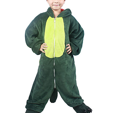 Kigurumi-pyjamas Dinosaur Onesie-pyjamas Kostume Flanel Fleece Grøn Cosplay Til Børne Nattøj Med Dyr Tegneserie Halloween Festival /