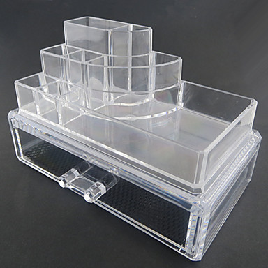 Depozitare Farduri Cutie Cosmetice / Depozitare Farduri Plastic / Acrilic Solid Pătrat 18.5 x 11.5 x 11.6 Bisque
