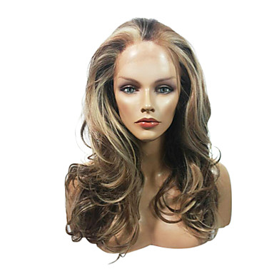 cheap Synthetic Lace Wigs-Synthetic Wig / Synthetic Lace Front Wig Curly / Wavy Style Layered Haircut Full Lace / Lace Front Wig Brown Synthetic Hair Women's Waterfall Brown Wig Medium Length Lace Wig