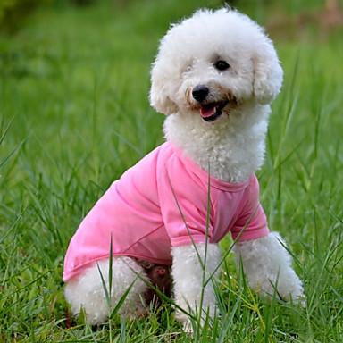 Hund T-shirt Hundkläder Enfärgad Gul Röd Grön Blå Rosa Cotton Kostym För husdjur